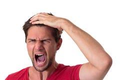 Homem gritando novo Fotos de Stock