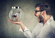 Homem gritando que guarda o frasco de vidro com interior da mulher fotografia de stock