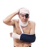 Homem idoso com os ferimentos múltiplos Fotos de Stock Royalty Free