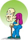 Homem idoso com um bastão. ilustração stock