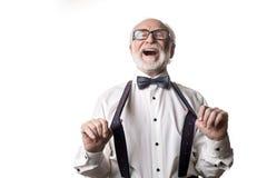Homem idoso jovial no bom humor imagem de stock