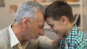 Homem idoso que toca nas testas com neto, amor da família e gesto do cuidado filme