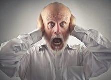 Homem idoso que vai louco Fotos de Stock Royalty Free