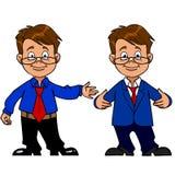 Homem inteligente com vidros e um sorriso do terno ilustração stock
