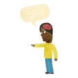 homem inteligente dos desenhos animados que aponta com bolha do discurso ilustração do vetor