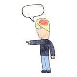 homem inteligente dos desenhos animados que aponta com bolha do discurso ilustração royalty free