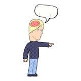 homem inteligente dos desenhos animados que aponta com bolha do discurso ilustração stock
