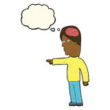 homem inteligente dos desenhos animados que aponta com bolha do pensamento ilustração royalty free