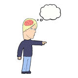 homem inteligente dos desenhos animados que aponta com bolha do pensamento ilustração do vetor