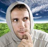 Homem irònica pensativo Fotografia de Stock
