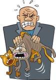 Homem irritado com gatos Imagens de Stock