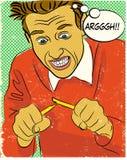Homem irritado da banda desenhada Fotografia de Stock