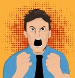 Homem irritado da cara da banda desenhada Imagem de Stock Royalty Free