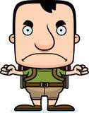 Homem irritado do caminhante dos desenhos animados Imagens de Stock