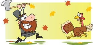 Homem irritado do peregrino que persegue com machado uma Turquia Foto de Stock Royalty Free