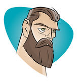 Homem irritado dos desenhos animados com barba Foto de Stock Royalty Free
