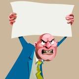 Homem irritado dos desenhos animados em um terno Imagem de Stock Royalty Free