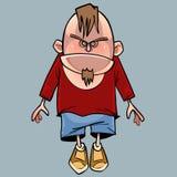 Homem irritado engraçado do caráter dos desenhos animados com uma barba Imagens de Stock Royalty Free