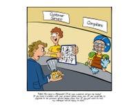 Homem irritado que chega à barra de serviço ao cliente ilustração royalty free