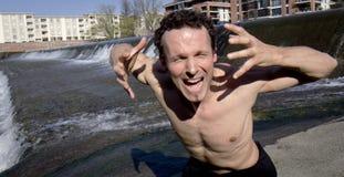 Homem irritado que shouting na câmera. Foto de Stock Royalty Free