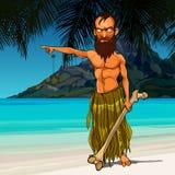 Homem irritado selvagem dos desenhos animados que vive em uma ilha de deserto Imagem de Stock
