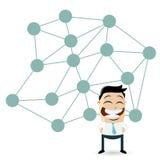 Homem isolado dos desenhos animados na frente de uma rede grande Imagem de Stock Royalty Free
