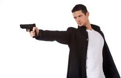 Homem isolado no branco que aponta um injetor da mão Imagem de Stock Royalty Free