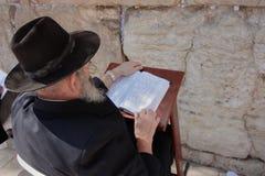 Homem judaico idoso Tora de leitura na parede lamentando fotografia de stock