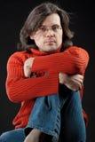 Homem longo do cabelo imagem de stock