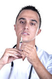 Homem médico com seringa Imagens de Stock Royalty Free