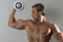 Homem maduro que faz o exercício para o bíceps em Grey Background Imagem de Stock