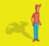 Homem magro que molda uma sombra forte do halterofilismo ilustração royalty free