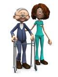 Homem mais idoso de ajuda da enfermeira dos desenhos animados com caminhante. Imagem de Stock
