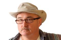 Homem mais idoso no chapéu imagem de stock
