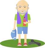 Homem mais idoso que bebe após o esporte Fotografia de Stock Royalty Free