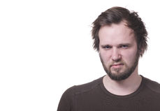 Homem mal-humorado com cópia-espaço. fotos de stock royalty free