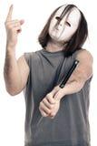 Homem mascarado assustador do horror foto de stock