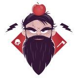 Homem mau com uma barba longa e uma maçã em sua cabeça Foto de Stock