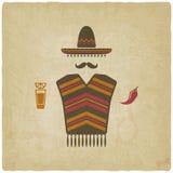 Homem mexicano com pimenta do tequila e de pimentão ilustração do vetor