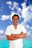 Homem mexicano com sorriso maia da camisa fotos de stock