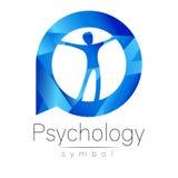 Homem moderno Logo Sign da psicologia Ser humano em um círculo Estilo creativo ilustração stock