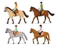 Homem, mulher, menino, grupo da ilustração do vetor dos cavalos de equitação da menina, isolado Imagem de Stock