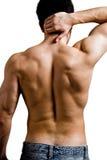 Homem muscular com dor traseira da garganta Fotos de Stock Royalty Free