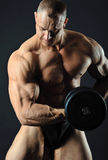 Homem muscular com peso Foto de Stock Royalty Free