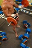 Homem muscular com pesos de uma barra na formação das mãos fotografia de stock royalty free