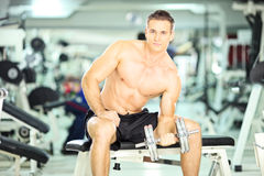 Homem muscular descamisado em um peso de levantamento do banco em um cl da aptidão Fotos de Stock Royalty Free