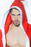 Homem muscular do Natal fotografia de stock royalty free