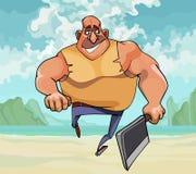 Homem muscular dos desenhos animados que corre com um machado em sua mão ilustração stock