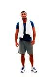 Homem muscular feliz com toalha Foto de Stock