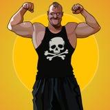 Homem muscular grande dos desenhos animados que está na pose de um halterofilista Imagens de Stock Royalty Free